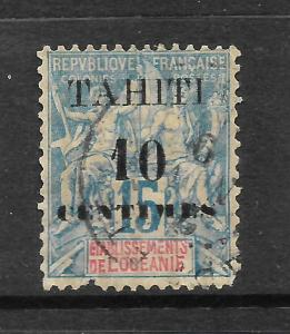TAHITI  1903  10c on 15c  PEACE & COMMERCE   FU     SG 57