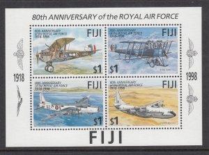 Fiji 818 Airplanes Souvenir Sheet MNH VF
