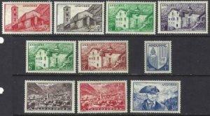 Andorra French 1949-1951 SC 114-123 Mint SCV$ 122.15 Set
