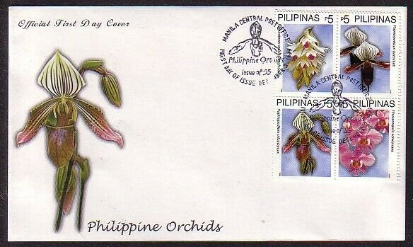 Philippines, Scott cat. 2653 A-D. Orchids issue. First Day Cover. ^