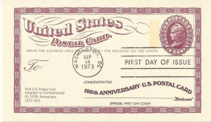 US  UX65  FDC  US Postal Card 100th Anniversary