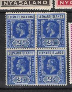 Leeward Islands SG 50 Block of Four MNH (5dvj)