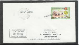 1993 Paquebot Cover, Barbados stamp used in Georgetown, Ascension Island