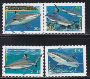 Cocos Islands # 341-343, WWF - Sharks, NH, 1/2 Cat.