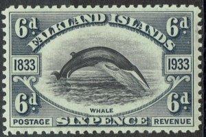 FALKLAND ISLANDS 1933 CENTENARY 6D WHALE