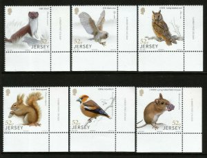 Jersey 2019 Woodland Wildlife Birds Mammals 6v Set of Stamps MNH unmounted mint