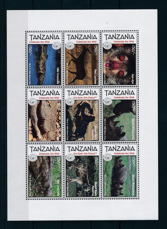 [26415] Tanzania 1995 Animals 100 Year Sierra club wild animals MNH S/S