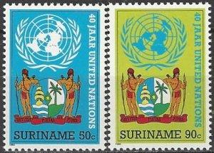 Suriname  710-1  MNH  UN 40th Anniversary