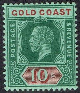 GOLD COAST 1913 KGV 10/- RED/GREEN WMK MULTI CROWN CA
