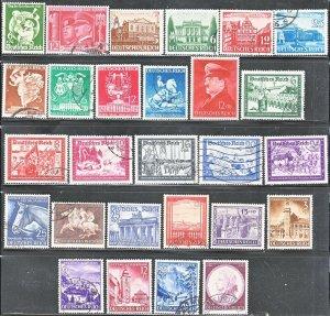 Stamp Germany Year 1941 Mi 762-80, 803-9 Set WWII 3rd Reich Legion Military Used