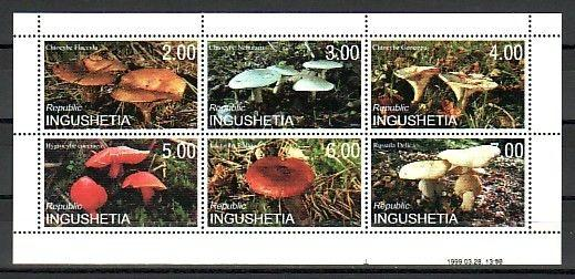 Ingushetia, 1999 Russian Local. Mushrooms sheet of 6.