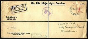 NEW ZEALAND 1953 OHMS Registered AR cover with 1/- meter ex Auckland.......30421