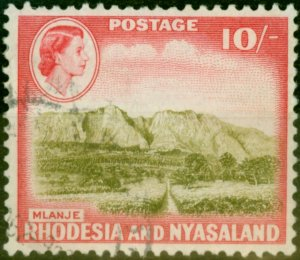 Rhodesia & Nyasaland 1959 10s Olive-Brown & Rose-Red SG30 Fine Used