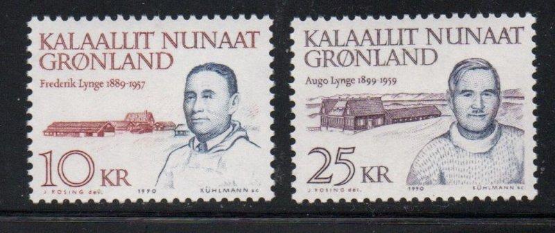 Greenland Sc 231-2 1990 Lynge & Lynge stamp set mint NH