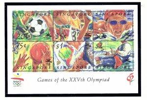 Singapore 626a MNH 1992 Olympics  S/S          (KA)