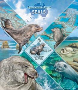 SOLOMON ISLANDS 2013 SHEET SEALS MARINE LIFE slm13416b