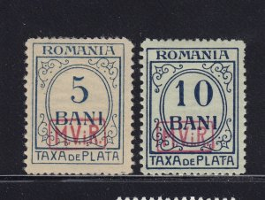 Romania Scott # 3NJ 1 - 2 VF OG previous hinged nice color scv $ 40 ! see pic !