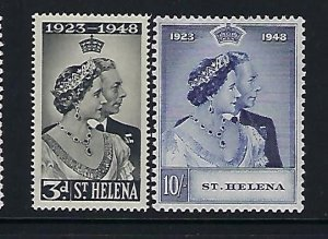ST HELENA SCOTT #130-131 1948 GEORGE VI SILVER WEDDING  -MINT LIGHT HINGED