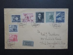 Czechoslovakia 1947 Airmail Cover to USA / Light Creasing - Z8727