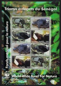 Togo WWF Senegal Flapshell Turtle Sheetlet of 8v MI#3337-3340 SC#2039a-d