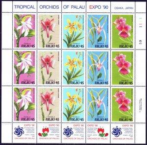 Palau. 1990. Small sheet 361-65. Orchids, flowers. MNH.