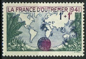 France 1941, 1+1 Fr World map VF MNH, Mi 536