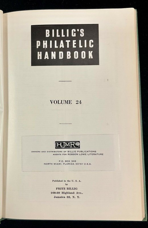 Billig's Philatelic Handbook  Volume 24 First Edition 1956