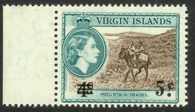 BRITISH VIRGIN ISLANDS 1962 5c on 4c Mountain Travel Surcharge Issue Sc 132 MNH