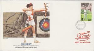O) 1988 SOLOMON ISLANDS, XXIV OLYMPIAD, ARCHERY, FDC XF