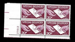 US 1954  Sc #  E 21 30 c Special Delivery - Mint NH Plate Bock of 4