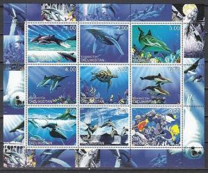 Tadjikistan, 2000 Russian Local. Marine Life sheet of 9. ^