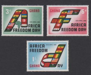 Ghana African Freedom Day 3v SG#242-244