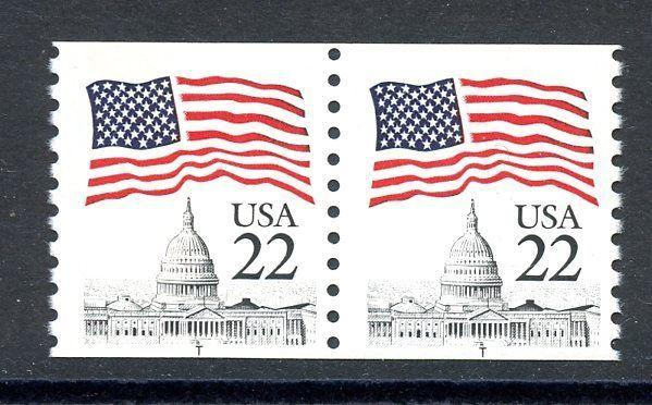 U.S. 1987 Flag Over Capitol Coil Pair with T at Bottom MNH