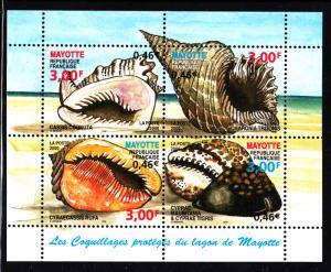 Mayotte MNH Scott #140 Souvenir sheet of 4 3fr Seashells: Cassis cornuta, Cha...