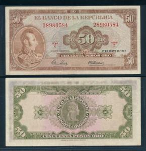 [96308] Colombia 1964 50 Pesos Oro Bank Note F-VF P402b