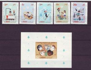 Z714 JLstamps 1966 lebanon set mnh+ s/s mh #c480-5 children