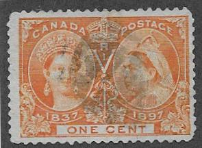 Canada 51, used one cent Stamp Catalog Value $4.00 Uni starting at $.45cents