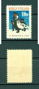 Denmark. Poster stamp 1941. WWII.  Support Finland 5 Ore. Mother,Children.