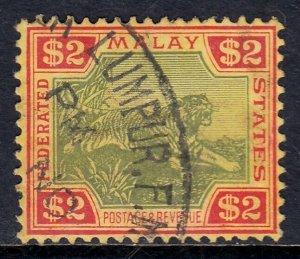 MALAYA FED. ST. — SCOTT 78 (SG 79) — 1934 $2 TIGER — USED — SCV $55