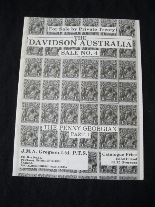 GREGSON CATALOGUE THE DAVIDSON AUSTRALIA 4 THE PENNY GEORGIAN PART 1