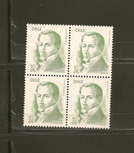 Chile D Portales 10 CTS Block of 4 MNH