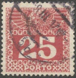 AUSTRIA 1910 Postage Due Sc J41  25h Used VF