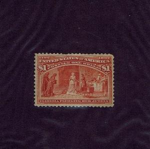 SC# 241 UNUSED REGUMMED $1 COLUMBIAN, 1893, PRICED RIGHT