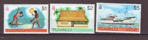 J22225 Jlstamps 1976 tuvalu hv,s of set mnh #35-37, 1$ to 5$ values