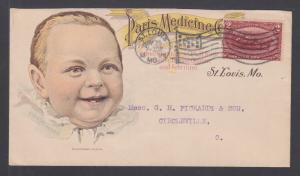 US Sc 286 on 1898 Paris Medicine Co. illustrated advertising cover,  Baby