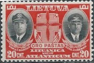 Lithuania C79 (mh) 20c Darius & Girenas, pilots, scar & black (1934)