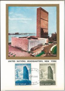 52733  - VATICANO -  MAXIMUM CARD - 1956 ARCHITECTURE United Nations