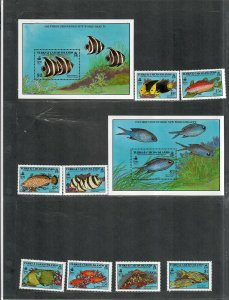 Turks+Caicos Islands Sc#836-845 M/NH/VF, Fish Stamps+S/S, Cv. $22.05