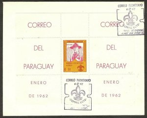 1962 Paraguay Scouts badge FDC perf SS