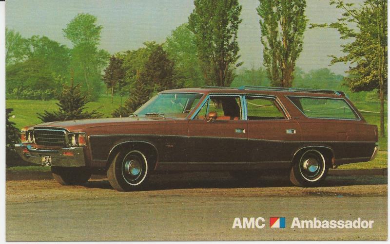 AMC 1973 Ambassador Dealer postcard - unused